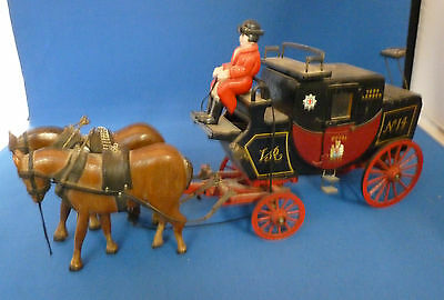 Wooden Toy or Model Horse Drawn Victorian London to York Royal Mail Carriage