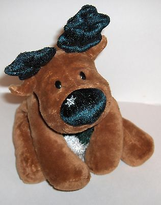 PLUSH  **Reindeer** Soft with Green Antlers and Green Scarf ---Snowflake on nose