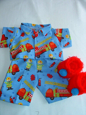 Fits16''  Doll Cabbage patch Clothes Boys  Blue Flannel Pj;s  Fire trucks