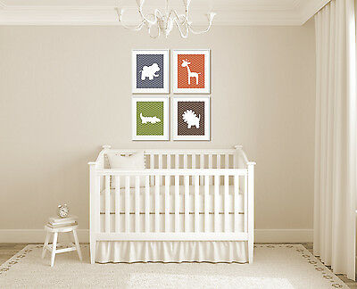 Jungle Nursery Art, Set of 4 8x10 UNFRAMED Prints, Chevron Animal Silhouettes