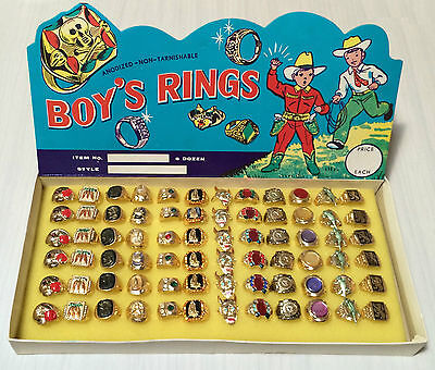 SPECTACULAR TIN TOY BOY'S RINGS COMPLETE STORE DISPLAY BOX 1960S HONG KONG NMIB!