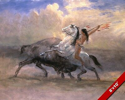 The Last Buffalo & Native American Indian Oil Painting Art Real Canvas Print