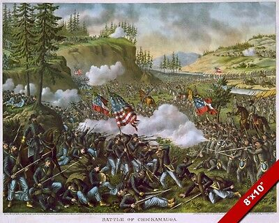 Us Civil War Battle Of Chickamauga Ga Oil Painting Art Real Canvas Giclee Print