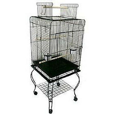Large 20-Inches Open Play Top Parrot Bird Cage With Stand Rolling Wheel BLK 151