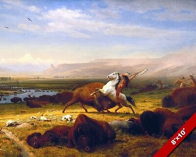 Last Buffalo Native American Indian Hunting Oil Painting Art Real Canvas Print