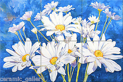 4x4 Garden Ceramic Art_FLOWER DAISY_6 Craft Tile Mural