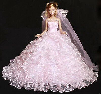 2014 high quality GIFT hot pink weddings dress for barbies Doll a2000
