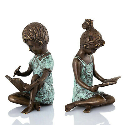 Pair Of Boy Writing Girl Reading Brass Bookends Bronze Patina Children SPI Home