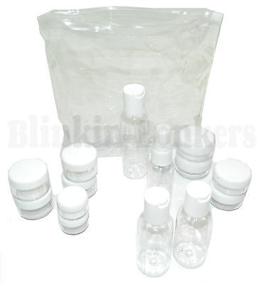 15 Carry On Airport Flight Travel Plastic Clear Bottle Cosmetic Jar Toiletry Set