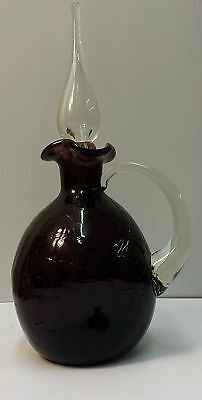 Blenko Amethyst Pinched Crackle Glass Pitcher Decanter