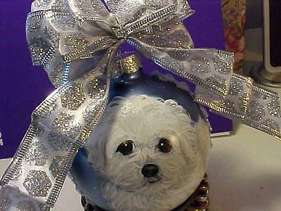 Bichon Frise Puppy Handpainted Christmas Ornament
