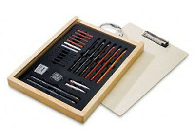 Conte Wooden Sketching Gift Box - Carres / Pencils / Drawing Board in Lid
