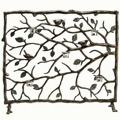 Bird & Branch Leaf Votive Candleholder Fireplace Fire Screen Bronze Finish 37.5""