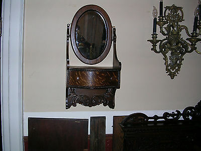 very fine antique hanging quartersawn oak shaving stand or wall mount