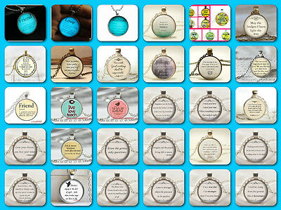 Words Of Encouragement Glass Cabochon Pendant Necklace/ 6 Styles