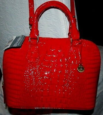 NEW NWT BRAHMIN VIVIAN PARTY RED MELBOURNE GLOSSY DOME SATCHEL NEW NWT $295