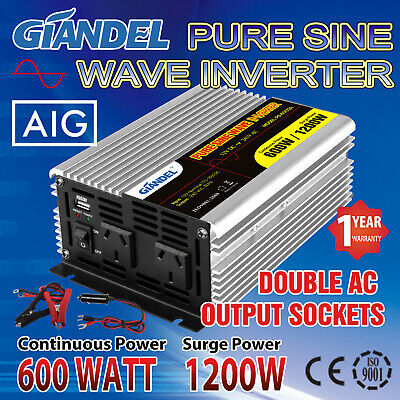 Pure Sine Wave Power Inverter 600W(1200W Max) 12V-240VAC Car Plug Cable1 Amp USB