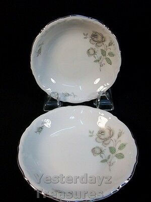 "A Pair of 5"" Dessert Bowls by Mitterteich Bavaria Pattern: Mystic Rose"