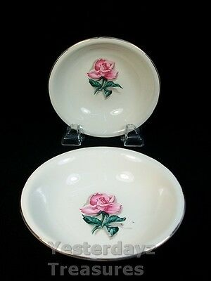 """A pair of 5"""" Dessert Cups by Homer Laughlin, EggShell Nautilus, Pink Rose"""