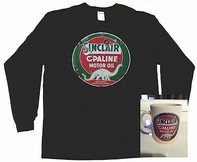 Rusty gold Sinclair Gas sign T Shirt / COFFEE MUG COMBO DEAL Skelly, Mobil  1