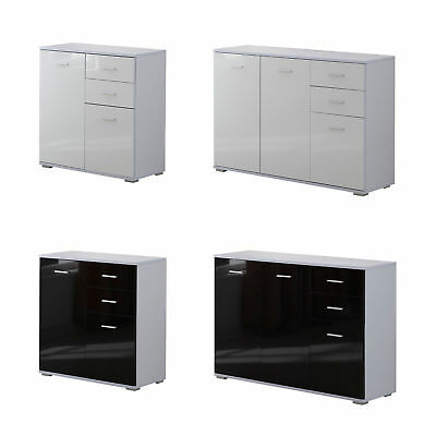 New Modern Cabinet Sideboard Cupboard Buffet Solo High Gloss Chest Black White