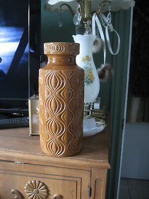 "#A83 GERMANY VASE caramel BROWN  INSIDE BROWN  #285-30, 12.25"" in tall"