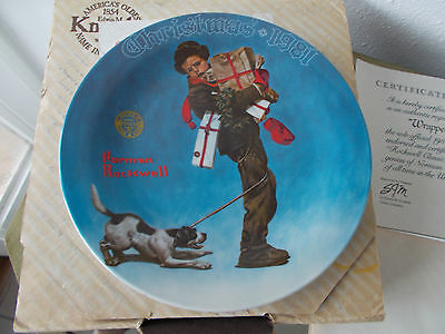 Norman Rockwell Christmas Plate 1981 MIB W/COA,' Wrapped Up In Christmas