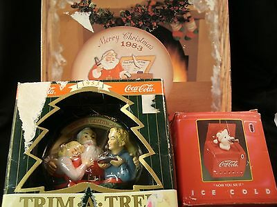 Vintage 3 Piece Lot of Coca Cola Christmas Ornaments and Coke Collectors Plate