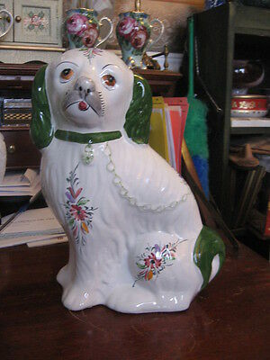 """#18  Portugal pottery  DOG FIGURINE SPANIEL #468-R 12"""" inches tall"""
