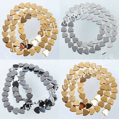 Natural Hematite Gemstone Heart Beads Black Silver Gold Color 15.5 Inches BG153