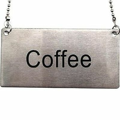 New ~ Beverage Chain Sign ~ Stainless Steel ~ Coffee ~ Ships Free
