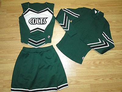 Stunning Child COLTS Authentic Cheerleader Uniform 3 Piece Youth M REAL 30/26
