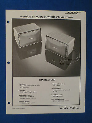 Bose Room Mate Ii Powered Speaker Service Manual Original Good Condition