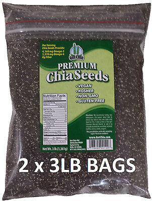 6 LB 100% PURE PREMIUM BLACK CHIA SEEDS VEGAN GLUTEN-FREE Non-GMO GROWN ORGANIC