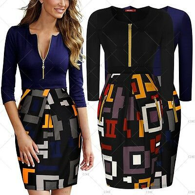 Women Vintage Front Zipper Cocktail Evening Party Casual Work Wear Pencil Dress