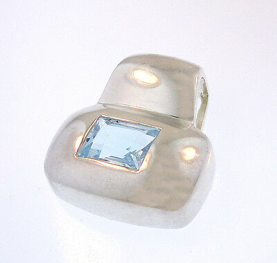 IBB Moderne Blue Topaz Slider Pendant Sterling Silver Rectangle Tubular Bail 925
