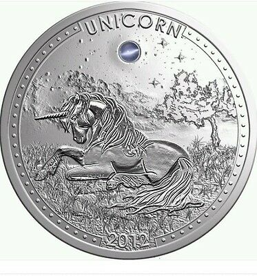2012 Cameroon Large Silver 1000 Fr. Unicorn w/opal-rare-mintage 888