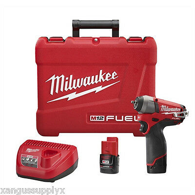 "Milwaukee 2452-22 M12 Fuel 1/4"" Drive Cordless Impact Wrench with 2 Batteries"