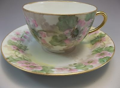 La Seynie P&P Limoges Tea Cup Saucer Set Hand Painted Pink Flowers Green France