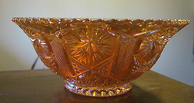 Marigold Star n File Flared Nappy Edge Serving Bowl Imperial Glass Vintage