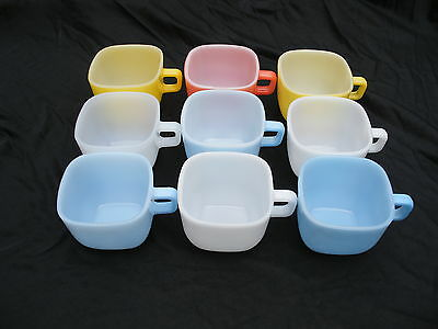 NINE GLASBAKE LIPTON CUPS IN ASSORTED COLORS EXCELLENT