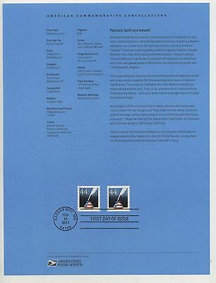 #4496  Forever -  44c Patriotic Quill & Inkwell  USPS #1106 Souvenir Page