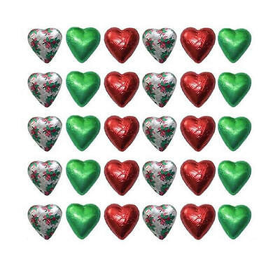 100 Cadbury Chocolate Christmas Hearts Red Green Silver Holly-Gifts Parties