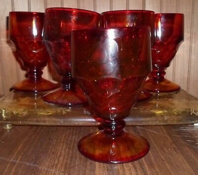 VINTAGE RUBY AMBERINA GEORGIAN GLASS FOOTED GOBLETS SET OF 5