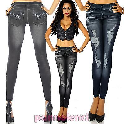 Leggings pantaloni donna aderenti STRASS effetto jeans style leggins DL-440