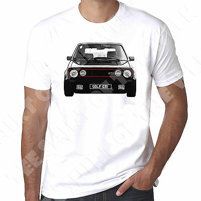 Front Facing Black Golf Gti Mk1 Mens White printed T shirt 100% Cotton