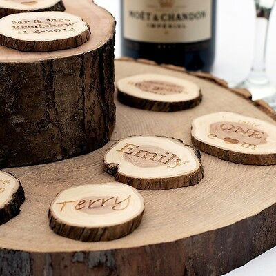 Personalised Wedding Favours. Small Rustic Log Slices. VintageTable Decorations