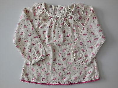 John Lewis baby girl pink + cream top size 000 Fits 0-3 mths