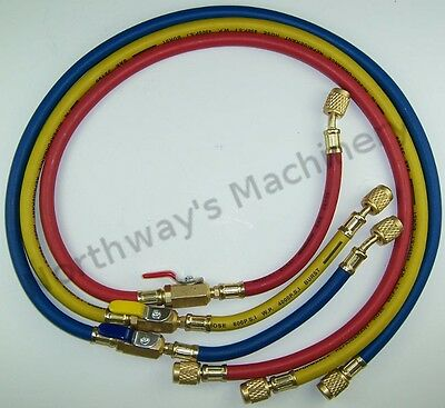 """LX3116AM R410A 3ft A/C Hoses w/Ball Valves 1/4"""" SAE Fittings Approved R410A"""