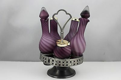 VINTAGE ENCASED GLASS PURPLE AMETHYST SWIRL CASTER SET WITH PEWTER BASE
